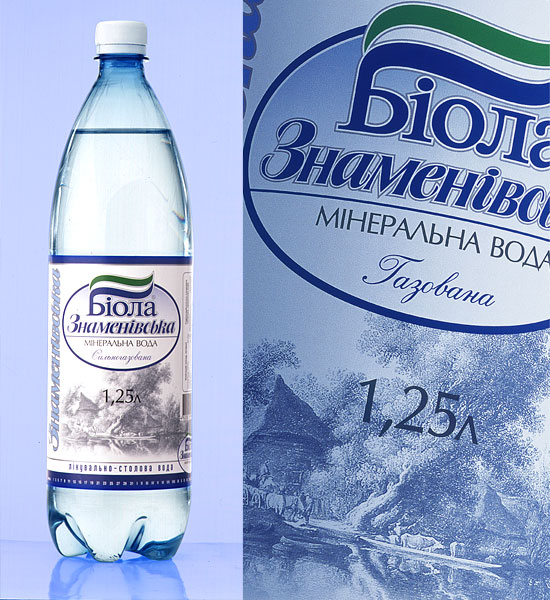 "Mineral water ""Znamenovskaya"". Label design. Year 2002"