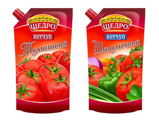 "Package design of TM Schedro ketchups, ""Tomato"" and ""Shashlik"", 2011"