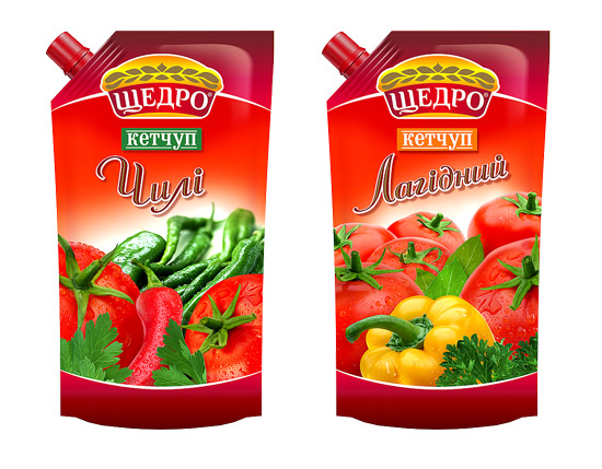 "Package design of TM Schedro ketchups, ""Chilli"" and ""Delicate"", 2011"